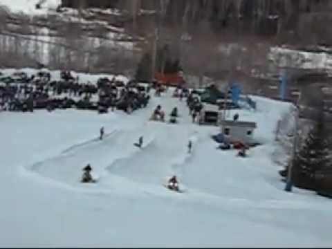 "Snowmobile hill racing at ""King of the Hill, Poley Mountain"""